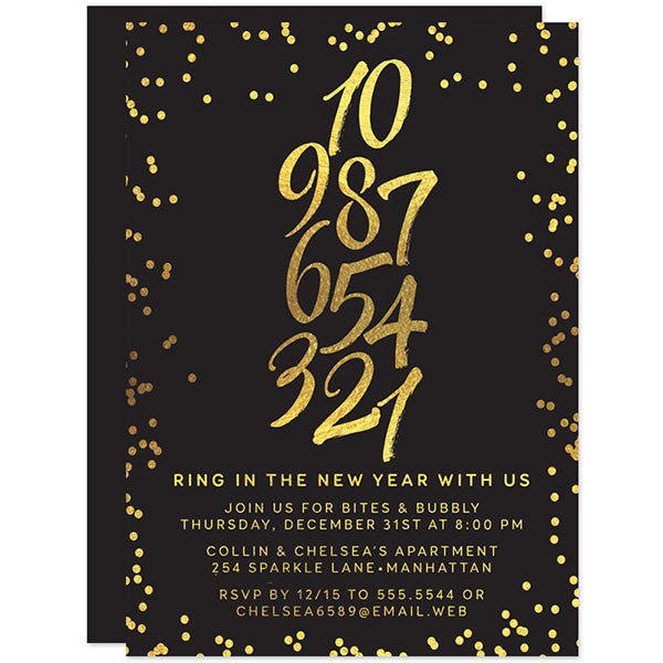 Gold Confetti New Year's Eve Countdown Party Invitations by The Spotted Olive