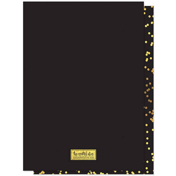 Gold Confetti New Year's Eve Countdown Party Invitations back by The Spotted Olive