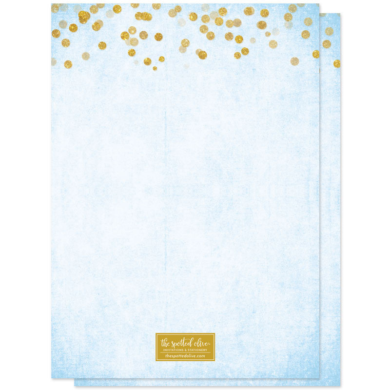 Gold Confetti Something Blue Bridal Shower Invitations by The Spotted Olive - Back
