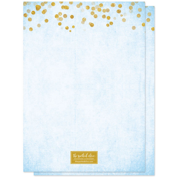 Gold Confetti Something Blue Bridal Shower Invitations by The Spotted Olive