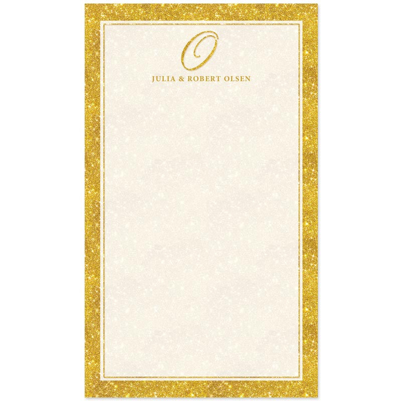 personalized notepads gold glamour initial the spotted olive