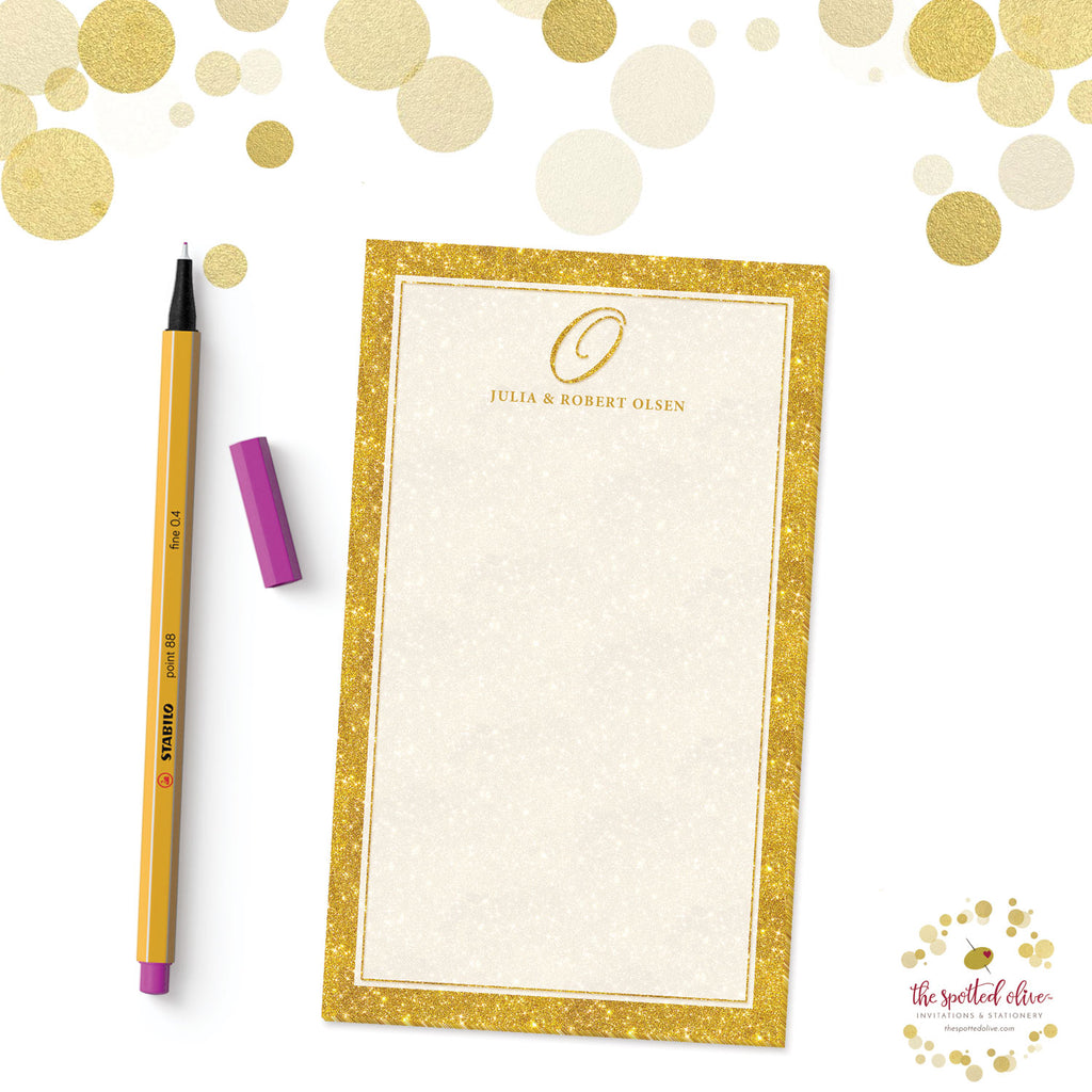 Gold Glamour Initial Personalized Notepad by The Spotted Olive - Branded