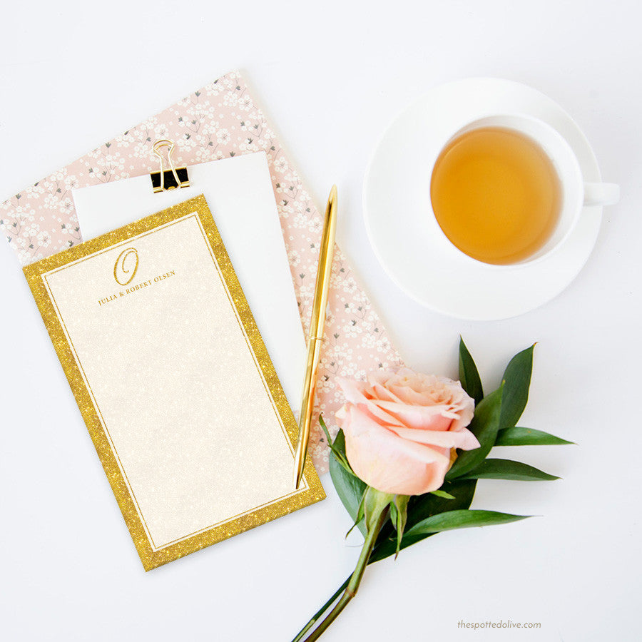 Gold Glamour Initial Personalized Notepad by The Spotted Olive - Scene