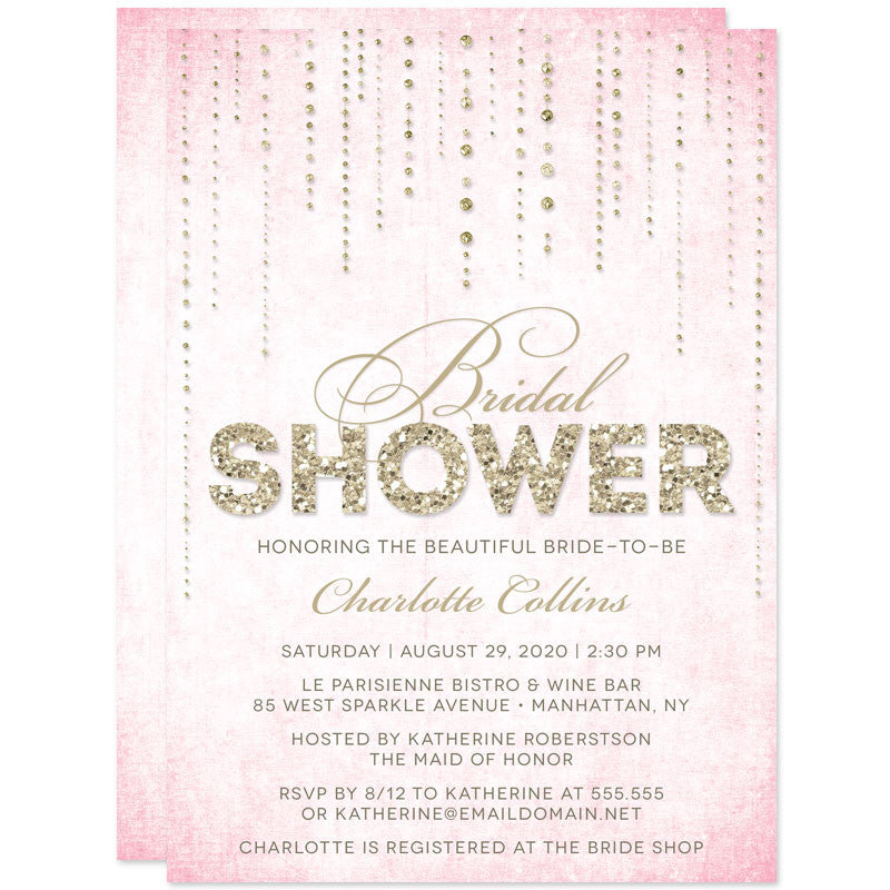 bridal shower invitations pink gold streaming gems