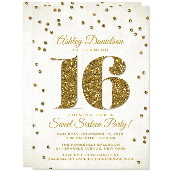 Gold Glitter Look Confetti Sweet 16 Invitations by The Spotted Olive