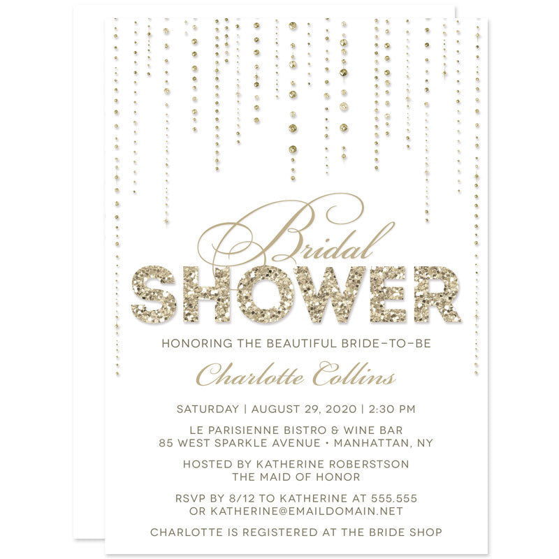 Gold Glitter Look Streaming Gems Bridal Shower Invitations