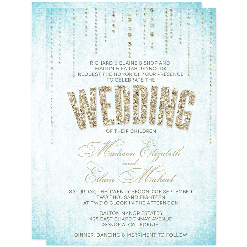 Gold Glitter Look Wedding Invitations-Aqua Background