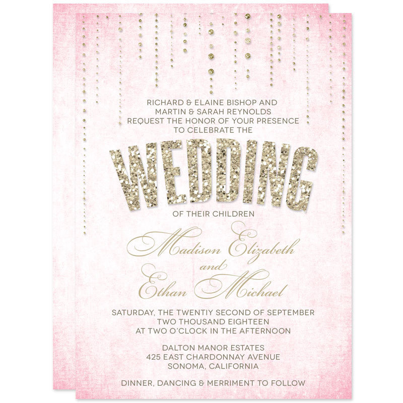 Gold Glitter Look Wedding Invitations-Pink Background
