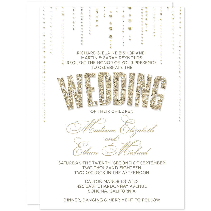 Gold Glitter Look Wedding Invitations-White Background