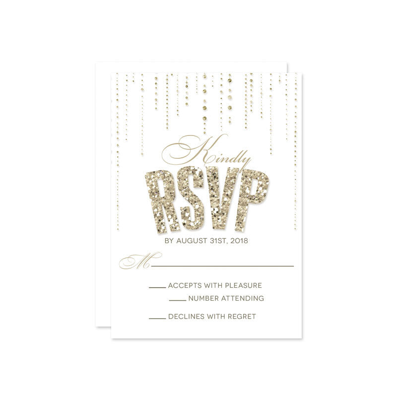 Gold Glitter Look Wedding RSVP Cards