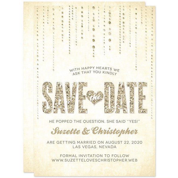 Save The Date Cards - Champagne Gold Glitter Streaming Gems