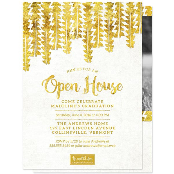 Gold Tribal Graduation Announcements - Class of 2016 by The Spotted Olive - back