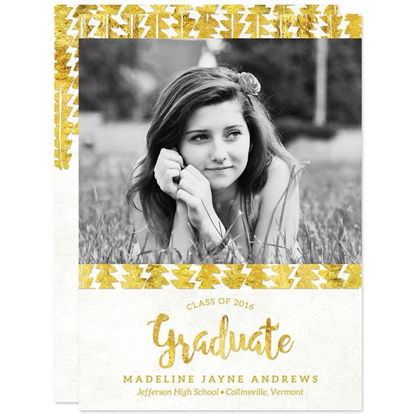 Gold Tribal Graduation Announcements - Class of 2016 by The Spotted Olive
