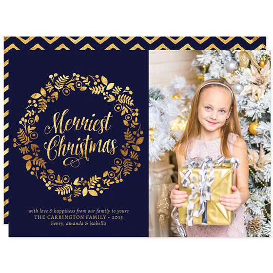 Gold Wreath Merriest Christmas Holiday Photo Cards by The Spotted Olive
