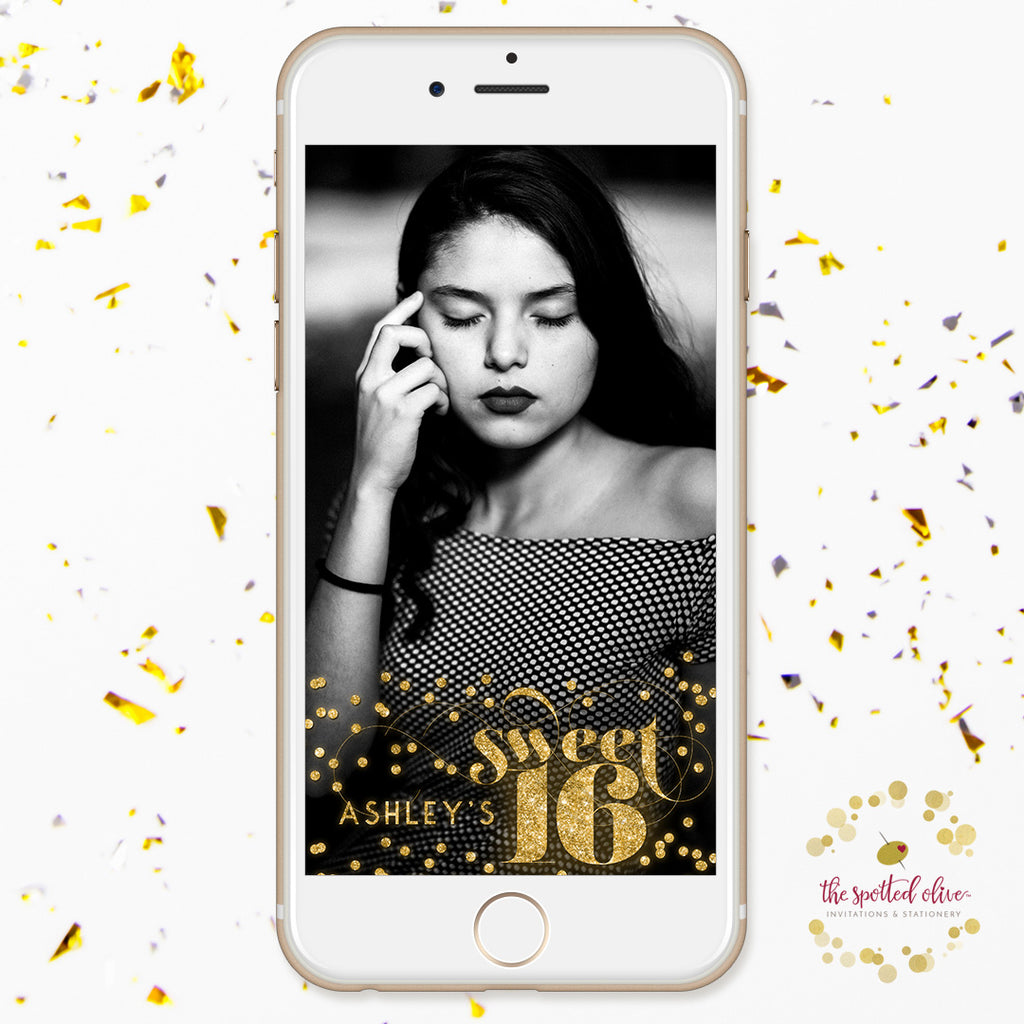 Gold Confetti Sweet 16 Personalized Snapchat Filter by The Spotted Olive
