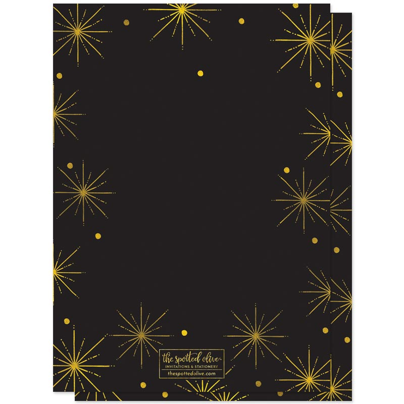 Black & Gold Burst New Year's Eve Party Invitations by The Spotted Olive - Back