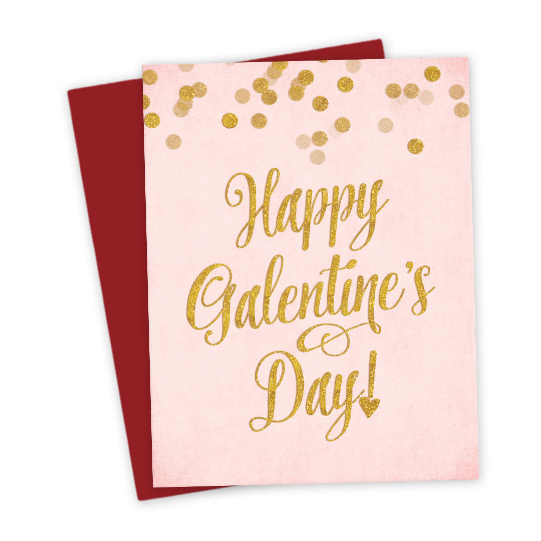 Pink Gold Confetti Happy Galentine S Day Card The Spotted Olive