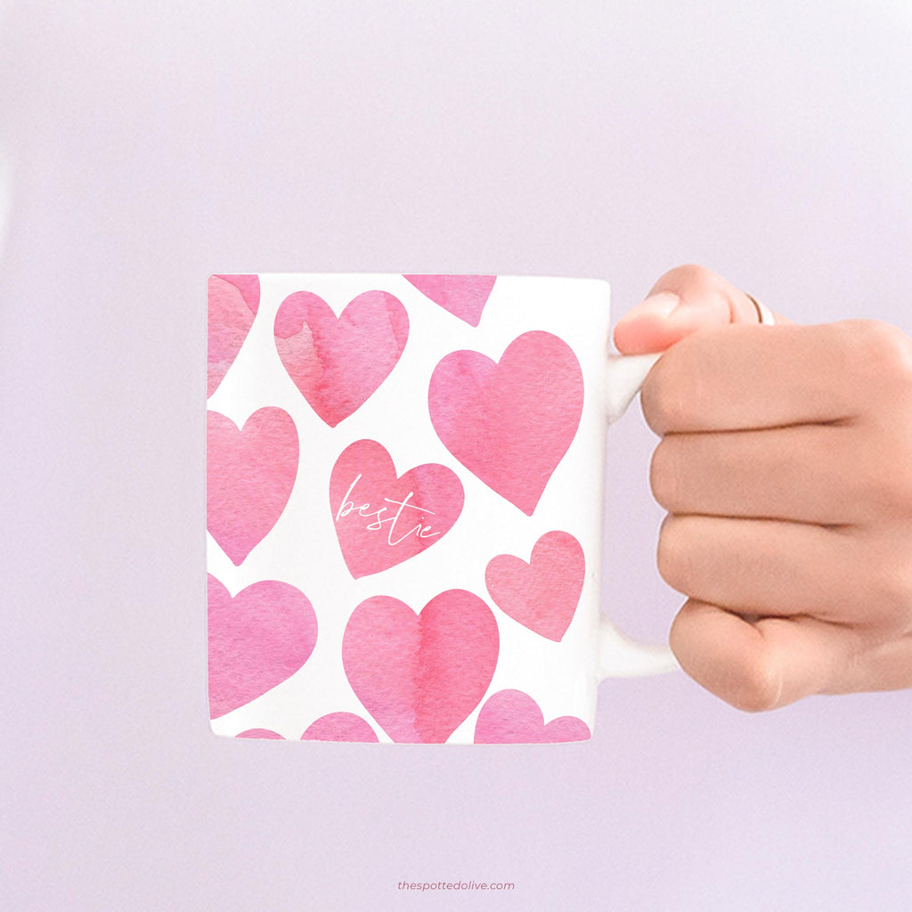 Happy Hearts Bestie Mug by The Spotted Olive - Scene