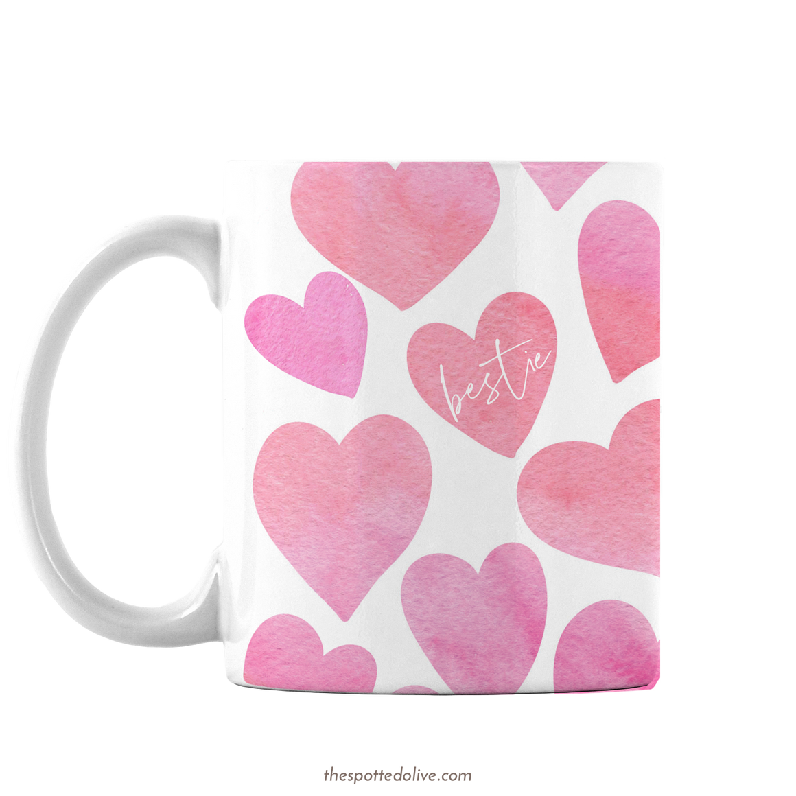 Happy Hearts Bestie Mug by The Spotted Olive - Left