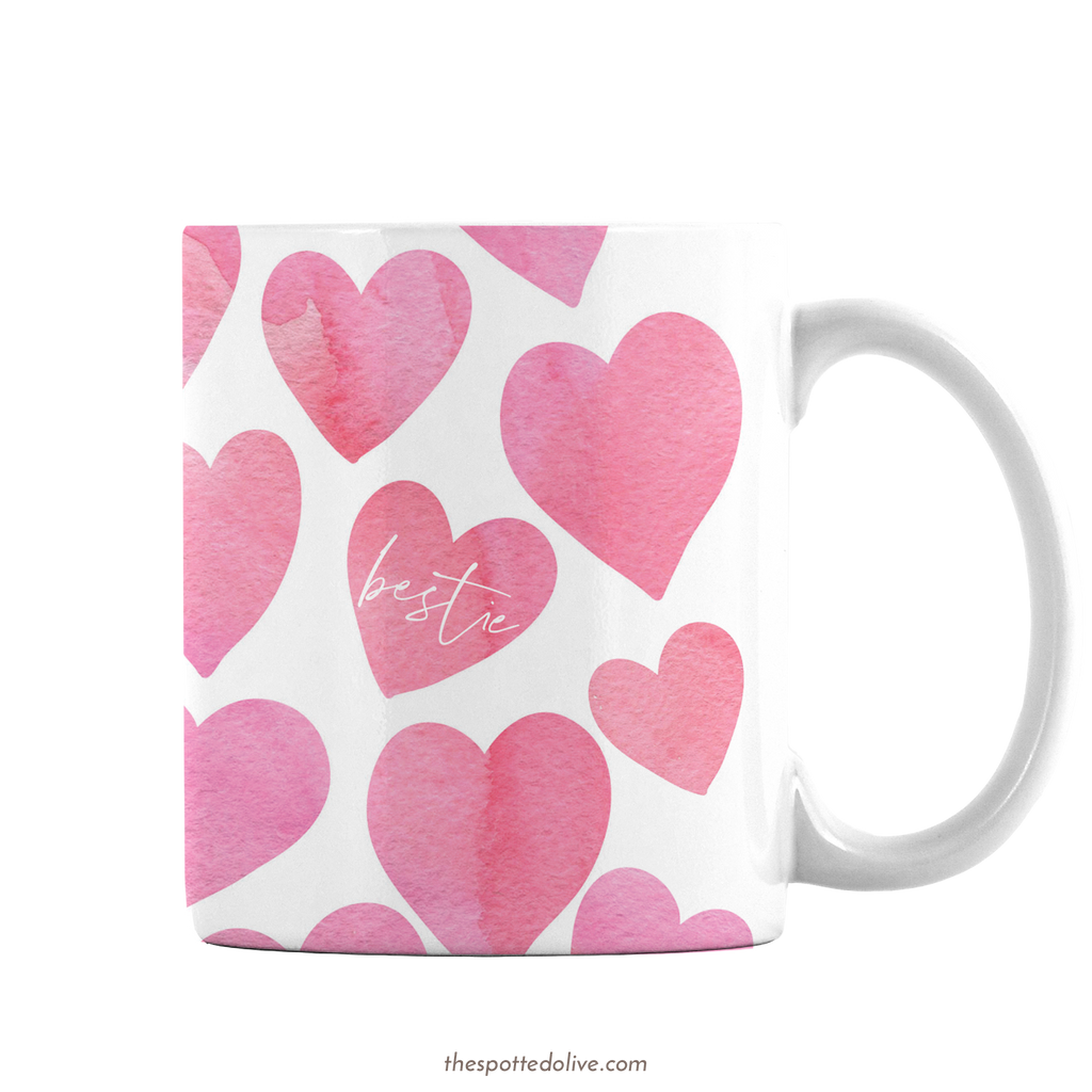 Happy Hearts Bestie Mug by The Spotted Olive - Right