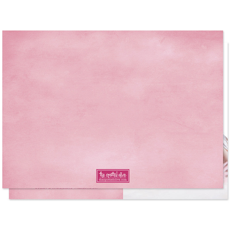 Pink Hello Baby Clouds Birth Announcements - Back