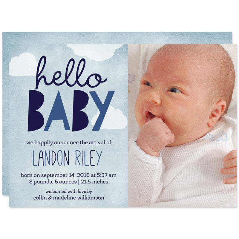 Blue Hello Baby Clouds Birth Announcements