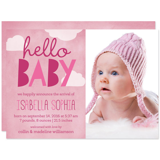 Pink Hello Baby Clouds Birth Announcements
