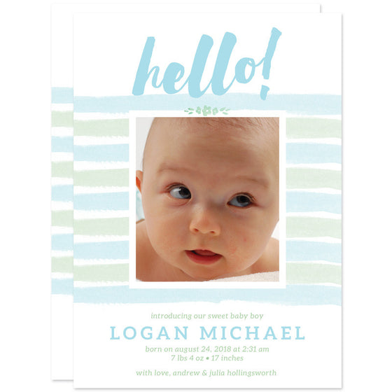 Hello Stripes Baby Birth Announcements