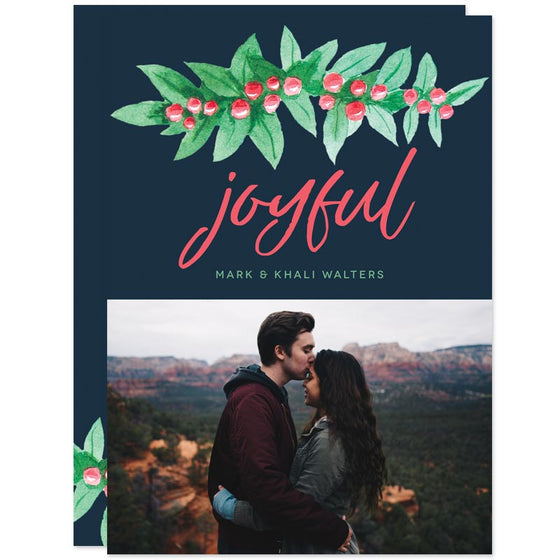 Joyful Holiday Berries Christmas Photo Cards by The Spotted Olive