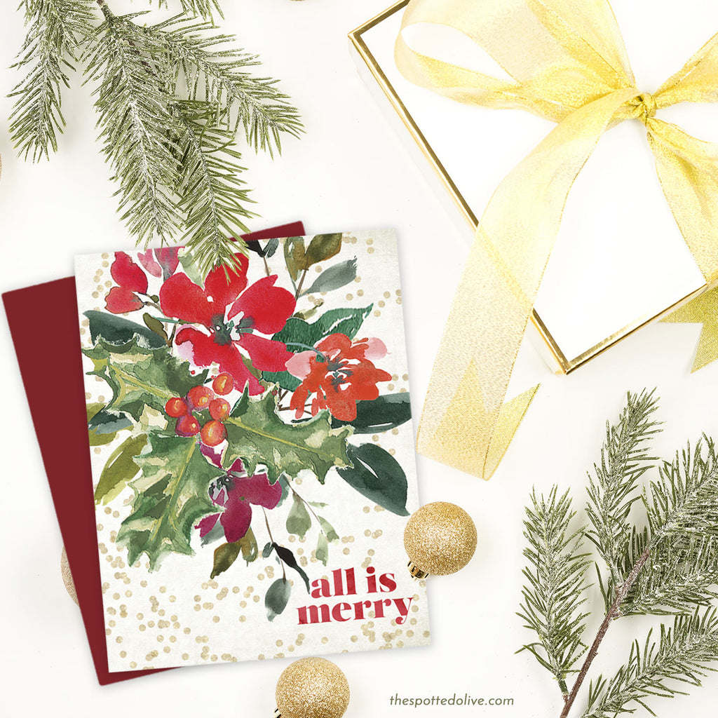 Christmas Bouquet Holiday Card by The Spotted Olive - Scene