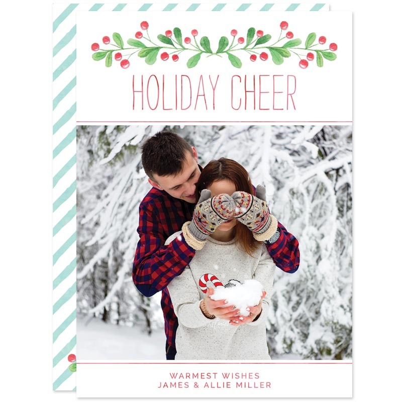 Holiday Cheer Berries Christmas Photo Cards by The Spotted Olive