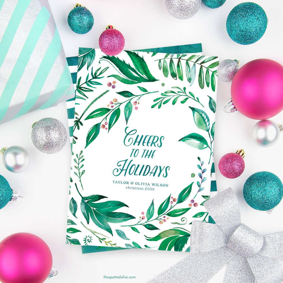 Holiday Greenery Non-Photo Christmas cards | The Spotted Olive - The ...