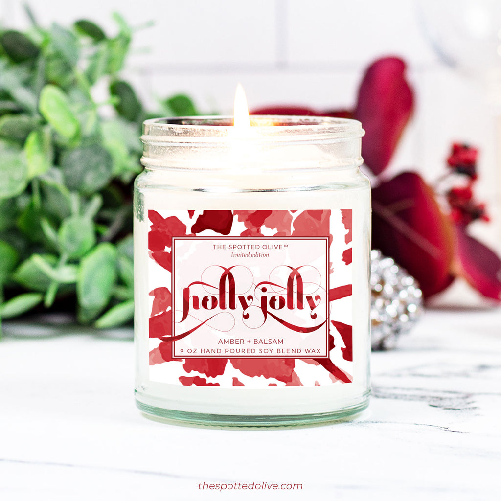 Holly Jolly Candle by The Spotted Olive - Amber + Balsam