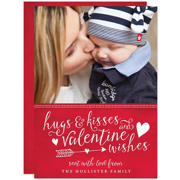 Hugs Kisses Valentine Wishes Valentine's Day Photo Card by The Spotted Olive