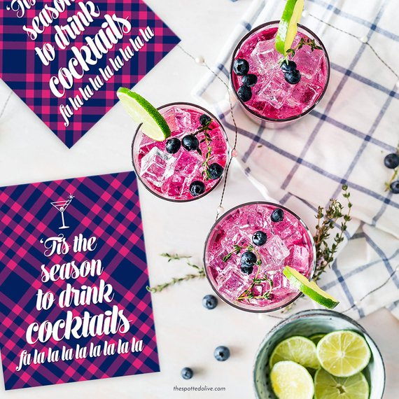 Boxed Cards - 'Tis The Season For Cocktails (Navy & Pink Plaid)
