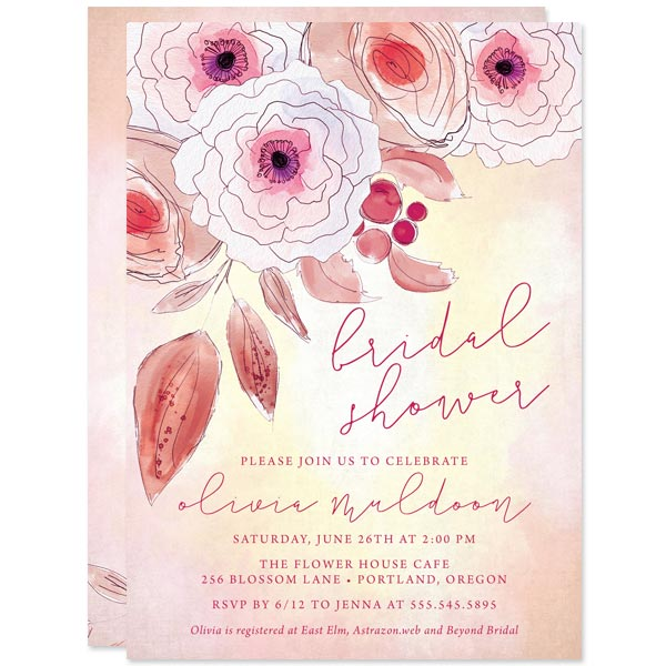 Inked Floral Bridal Shower Invitations The Spotted Olive The
