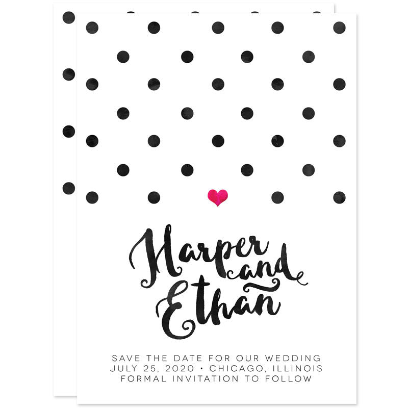 Polka Dots, Heart & Modern Calligraphy Save The Dates
