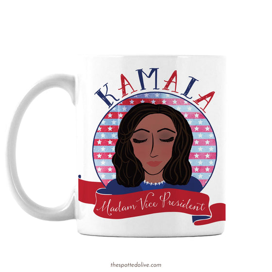 Kamala Madam Vice President Coffee Mug by The Spotted Olive - Left