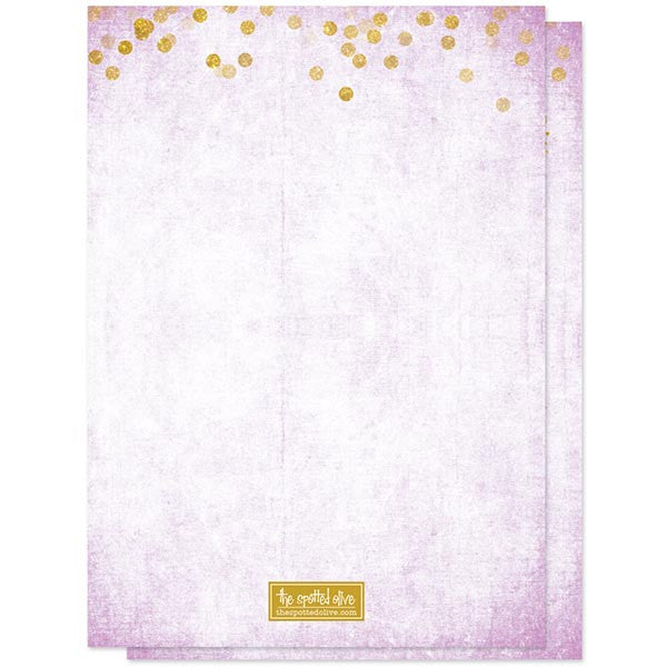 Lavender & Gold Confetti Bridal Shower Invitations by The Spotted Olive - Back