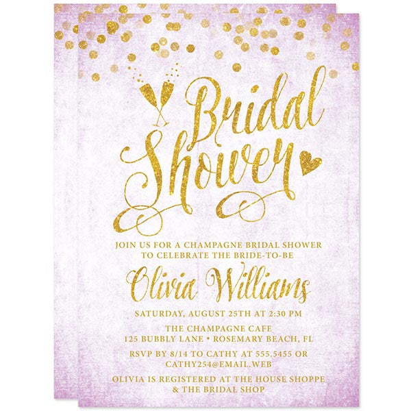Lavender & Gold Confetti Bridal Shower Invitations by The Spotted Olive
