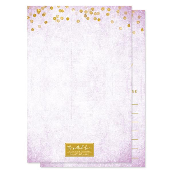 Lavender & Gold Confetti Advice for The Bride Cards by The Spotted Olive - Back