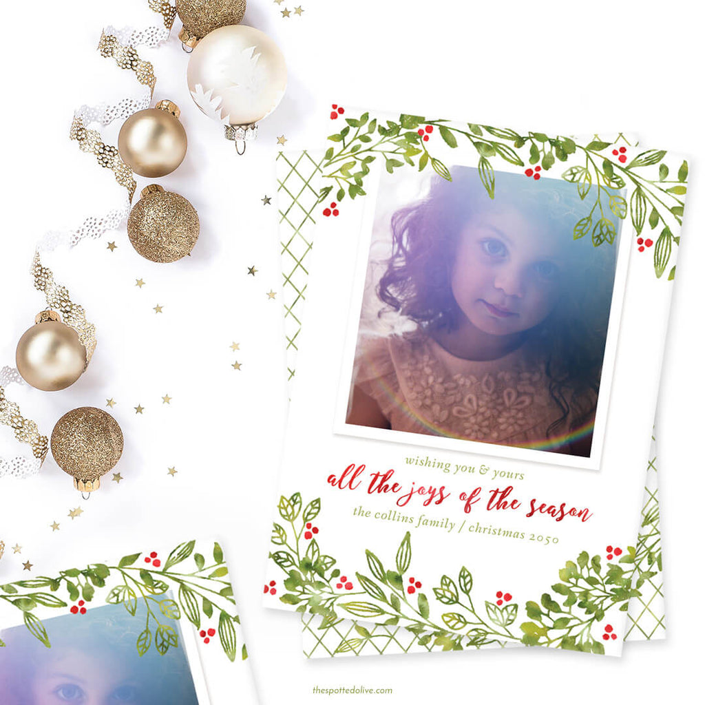 Leafy Joys Holiday Photo Cards by The Spotted Olive - Scene
