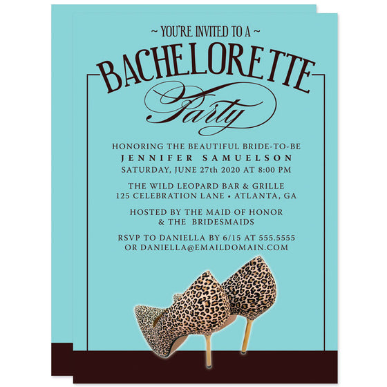 Leopard Print Shoes Bachelorette Party Invitations