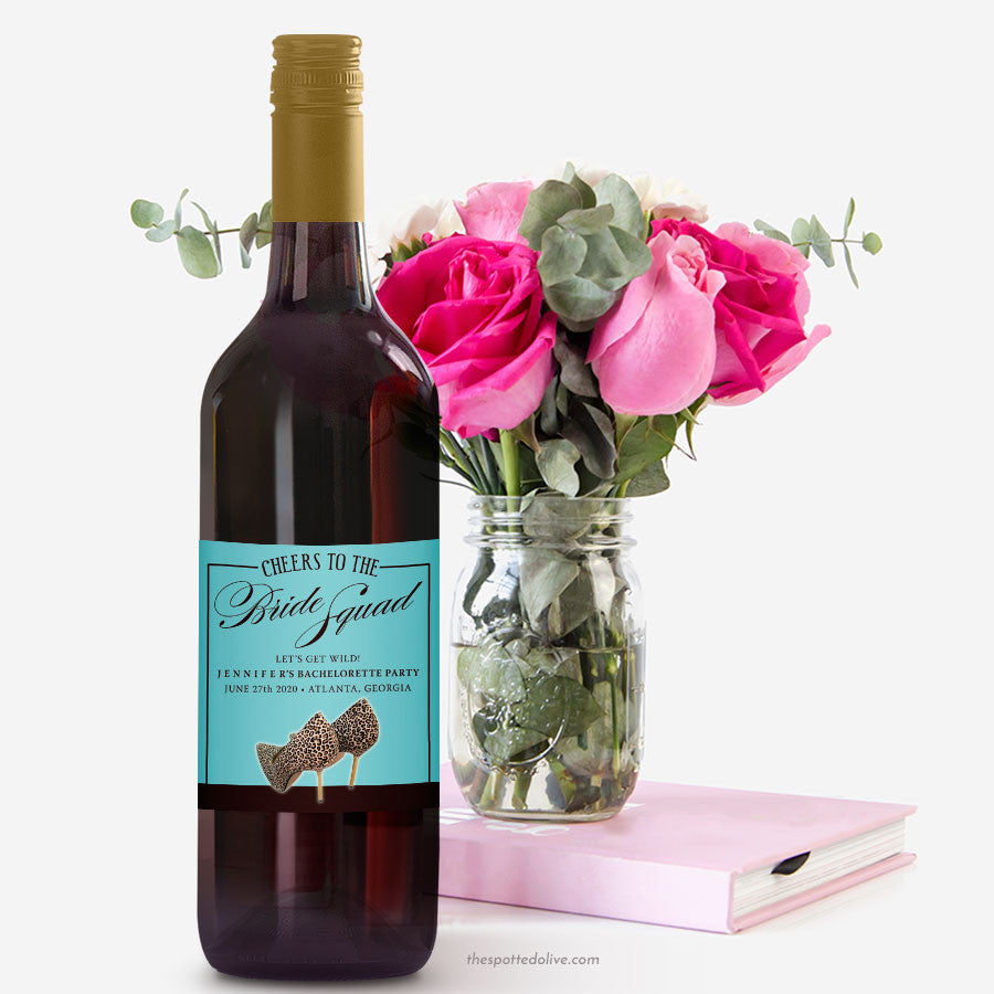 Leopard Print Shoes Bachelorette Party Wine Labels by The Spotted Olive - Scene
