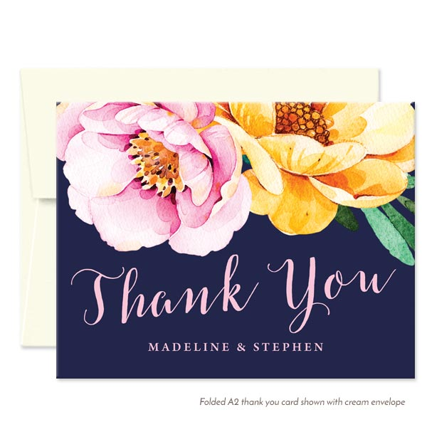 Love in Bloom Personalized Thank You Cards by The Spotted Olive - Cream Envelope