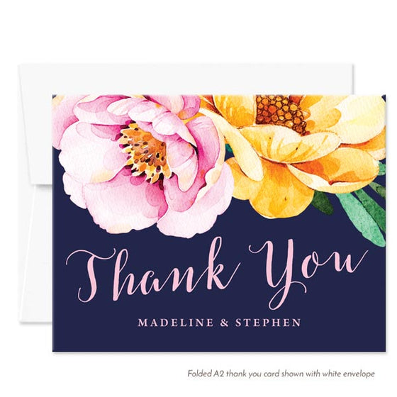 Love in Bloom Personalized Thank You Cards by The Spotted Olive - White Envelope