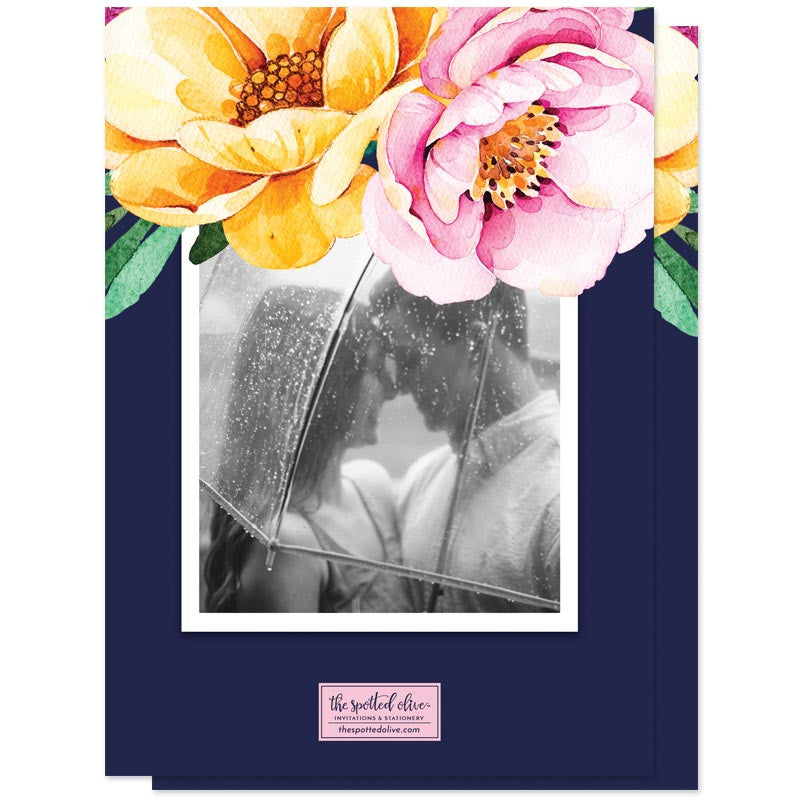 Love In Bloom Save The Date Cards by The Spotted Olive - Back