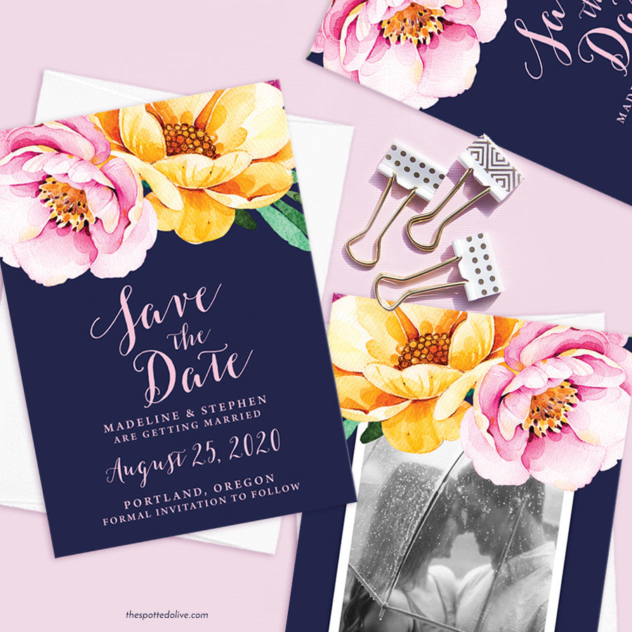 Love In Bloom Save The Date Cards by The Spotted Olive - Scene