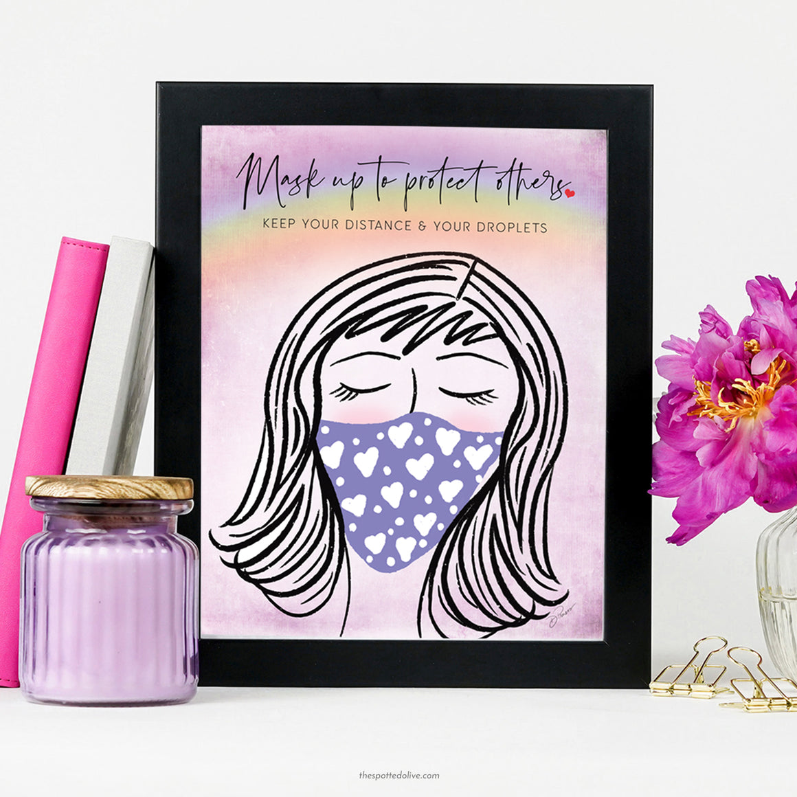 Mask Up Printable Art Shop Sign by The Spotted Olive - Scene