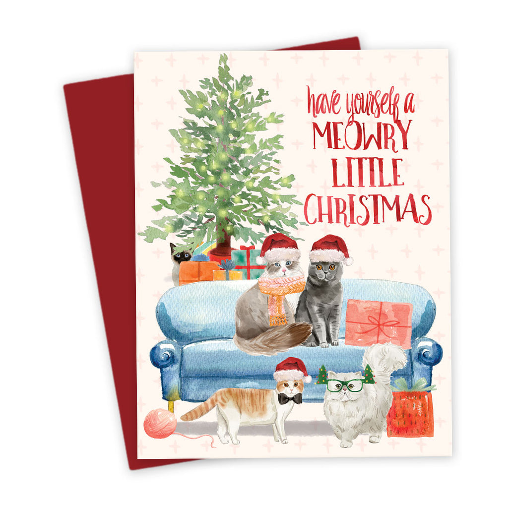 Meowry Christmas Cats Holiday Card by The Spotted Olive